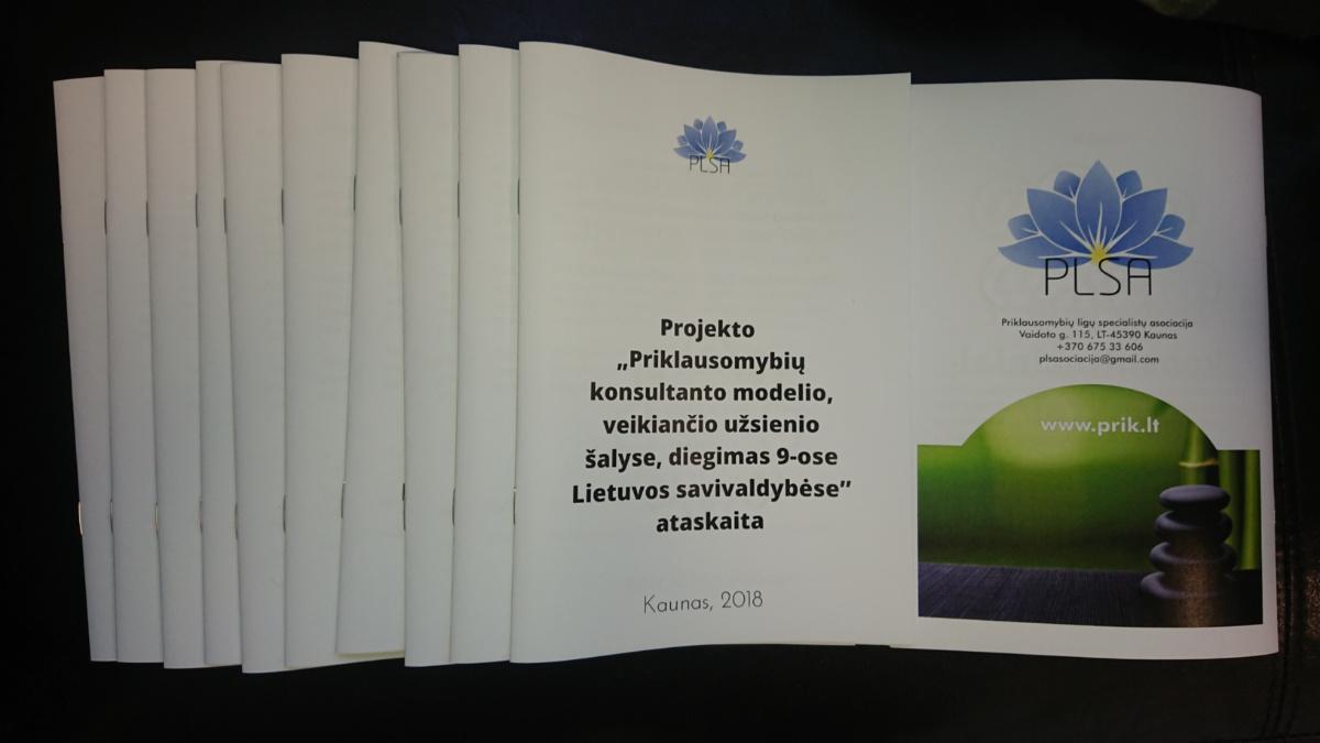 Priklausomybių ligų specialistų asociacijos 2017 -2018 m. ataskaita
